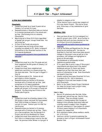 4-H Quick Tips - Project Achievement - Georgia 4-H