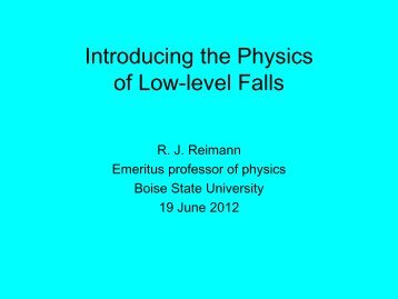 Introducing the Physics of Low-level Falls - Boise State University