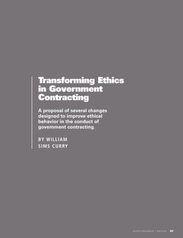 Transforming Ethics in Government Contracting
