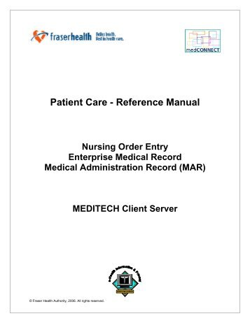 Patient Care - Reference Manual - Physician - Fraser Health Authority