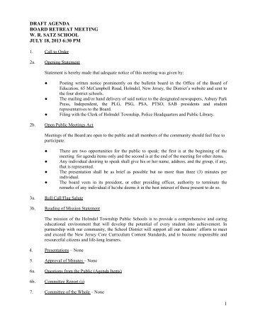 draft agenda board retreat meeting wr satz school july 18 ... - Holmdel
