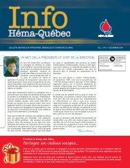 un mot de la présidente et chef de la direction - Héma-Québec