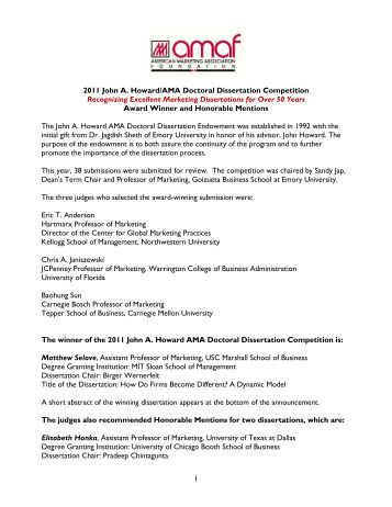 Doctoral dissertation competition