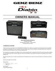 EL DIABLO 60 Owners Manual - Genz Benz