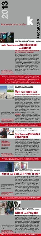 Programm 2013 - Kunstverein Oberer Zürichsee