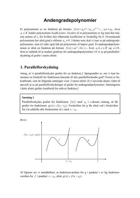 Andengradspolynomier - matematikfysik