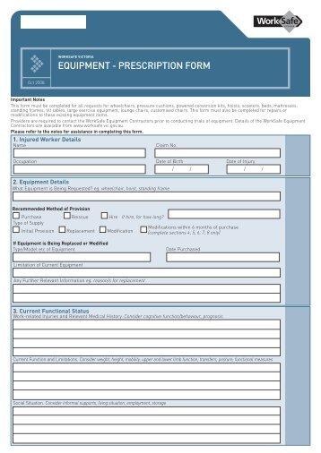 Equipment - Prescription Form (PDF) - Aidacare