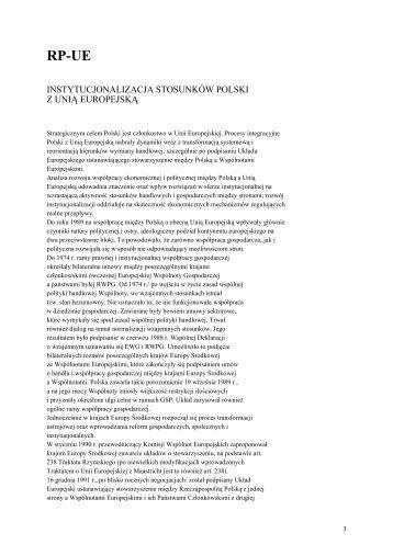 instytucjonalizacja stosunków polski z unią europejską