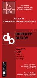 Pozvánka na konferenci Defekty Budov 2012 - Vysoká škola ...
