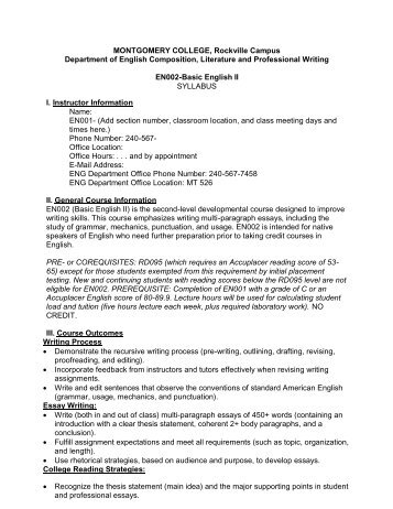 College-Wide EN101/A Syllabus Template MONTGOMERY ...