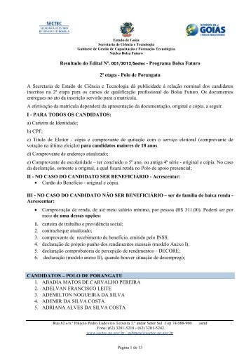 Classificados Edital 2 Porangatu - Sectec