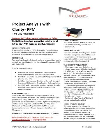 Project Analysis with Clarity PPM - Digital Celerity