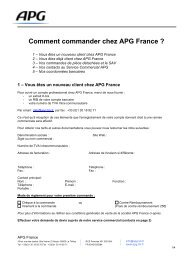 Comment commander chez APG France