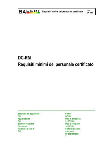 DC-RM Requisiti minimi del personale certificato - Sacert