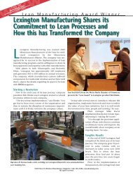 Lexington Manufacturing Shares its Commitment to Lean Processes ...