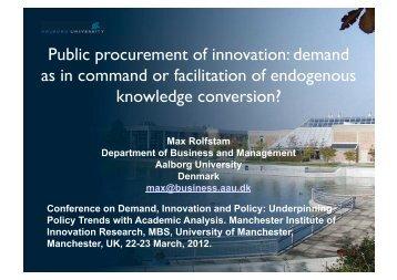 Public procurement of innovation - Understanding Public ...