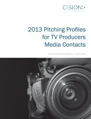 2013 Pitching Profiles for TV Producers Media Contacts - Cision