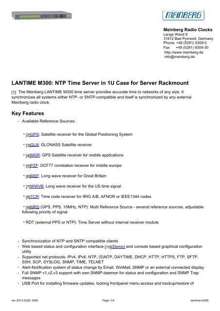 LANTIME M300: NTP Time Server in 1U Case for Server Rackmount