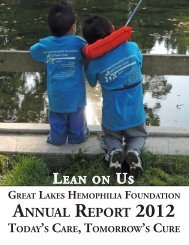 annUaL report 2012 - Great Lakes Hemophilia Foundation