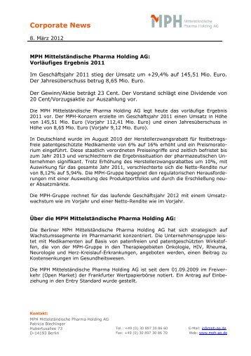MPH Mittelständische Pharma Holding AG: Vorläufiges Ergebnis 2011