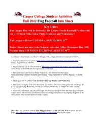Casper College Student Activities Fall 2012 Flag Football Info Sheet