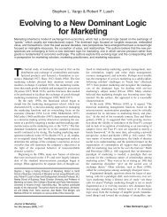 Evolving to a New Dominant Logic for Marketing - Courses
