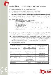 PROHLÁŠENÍ O VLASTNOSTECH Č. 130710134011 - Beton Brož