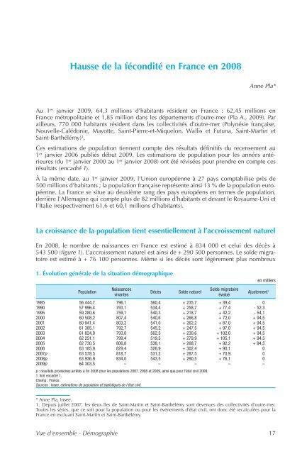 La démographie - Cellule Économique du Bâtiment et des Travaux ...