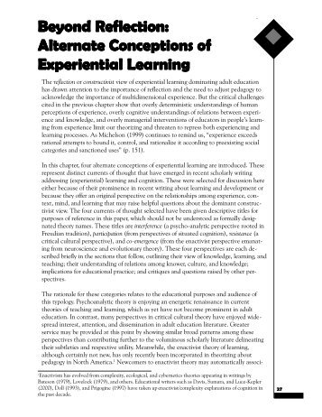 Alternate Conceptions of Experiential Learning - Methodenpool