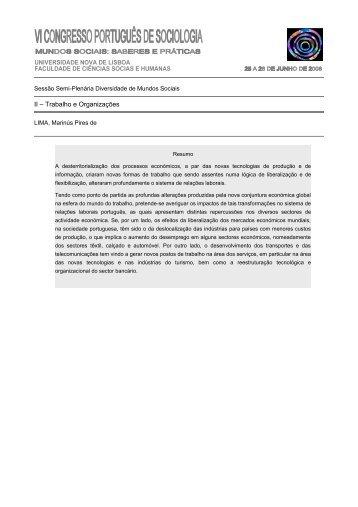 II – Trabalho e Organizações - Associação Portuguesa de Sociologia