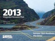 Summer 2013 Readiness - Idaho Power