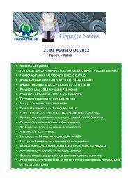 21 DE AGOSTO DE 2012 Terça - feira - Sindimetal/PR