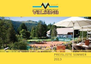 PREISLISTE SOMMER - Sporthotel Valsana