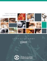 2008 Annual Report - American Academy of Optometry