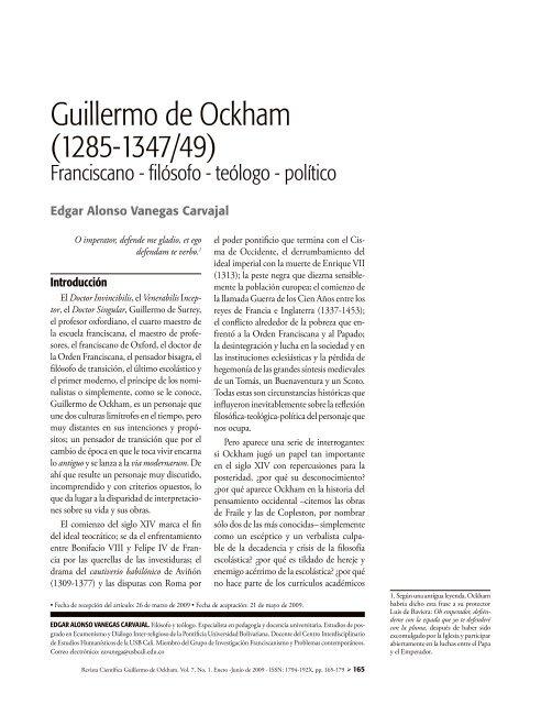 Guillermo de Ockham - Universidad de San Buenaventura Cali