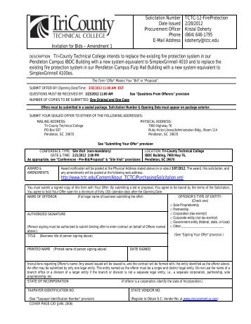 Invitation for Bids – Amendment 1 Solicitation Number Date Issued ...