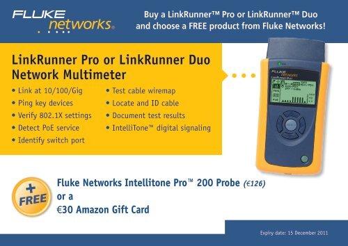 LinkRunner Pro or LinkRunner Duo Network Multimeter - FLUKE