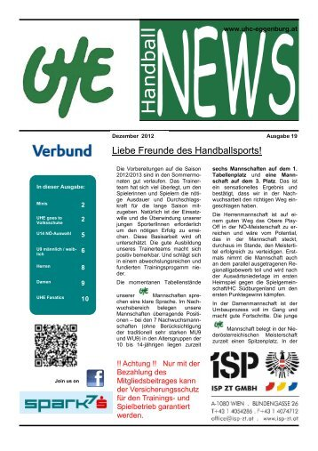 UHE Handball News #19(12/2012) - UHC Eggenburg