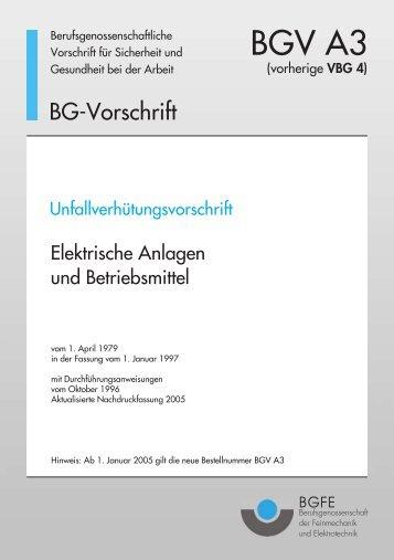 elektrische anlagen und betriebsmittel bgv a3 - Prufprotokoll Bgv A3 Muster