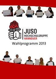 20121211-Wahlprogramm 2013 - Jusos Hochschulgruppe Hannover