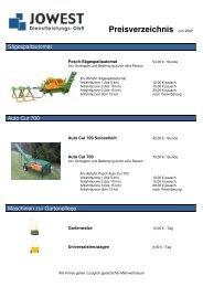 Unsere Preisliste als .pdf-Datei herunterladen - JOWEST GbR