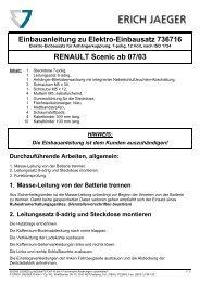 Einbauanleitung zu Elektro-Einbausatz 736716 RENAULT ... - Kfzpoint
