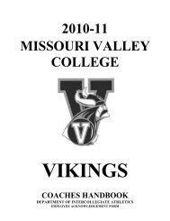 2010-11 missouri valley college vikings coaches handbook