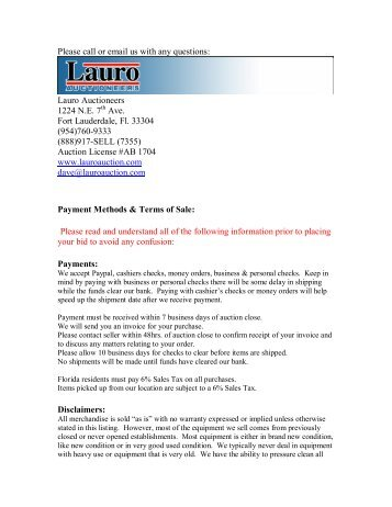Please call or email us with any questions: Lauro Auctioneers 1224 ...