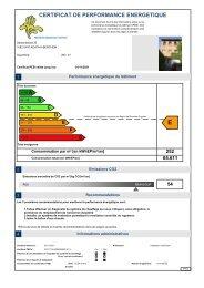 CERTIFICAT DE PERFORMANCE ENERGETIQUE