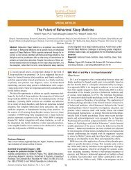 The Future of Behavioral Sleep Medicine - American Academy of ...