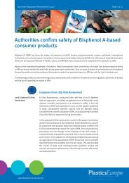 Authorities confirm safety of Bisphenol A-based consumer products