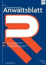 Anwaltsblatt 2009/09 - Die Österreichischen Rechtsanwälte
