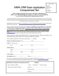 NRPA CPRP Exam Application - National Recreation and Park ...