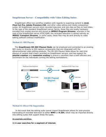 video editing compatibility document - SnapStream